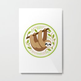 sloth hanging around Metal Print
