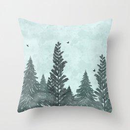 Foggy Zen Forest Throw Pillow