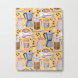 Coffee Love on Yellow Metal Print