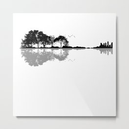 Acoustic Guitar Forest Nature Reflection Musician Metal Print