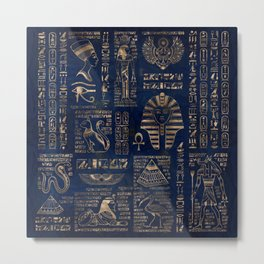 Egyptian hieroglyphs and deities-gold on blue marble Metal Print