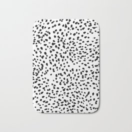 Nadia - Black and White, Animal Print, Dalmatian Spot, Spots, Dots, BW Bath Mat