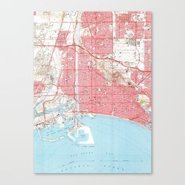 Vintage Map of Long Beach California (1964) 4 Canvas Print