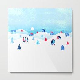 Yulefest - Scandinavian Winter Landscape Metal Print