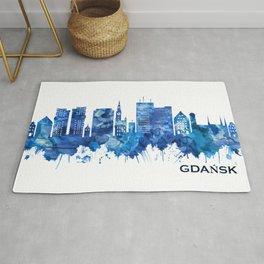 Gdansk Poland Skyline Blue Rug