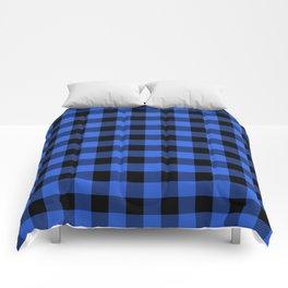 Royal Blue and Black Lumberjack Buffalo Plaid Fabric Comforters