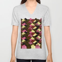 Never Too Much Chocolate - Valentines Day Candy Pattern Unisex V-Neck