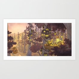 Treehouse Dinner With Animal Friends Art Print
