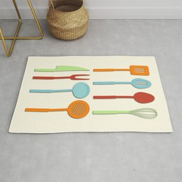 Kitchen Utensil Colored Silhouettes on Cream Rug
