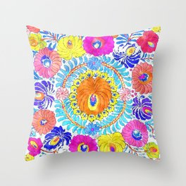 folk ornament theme Throw Pillow
