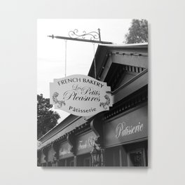 French Bakery Sign - Black and White Metal Print