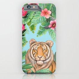 Jungle Tiger Tropical lovebirds Art by Magenta Rose Designs iPhone Case