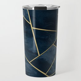 Dark Midnight Navy Blue Gold Geometric Glam #1 #geo #decor #art Travel Mug