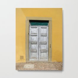 White Door on Yellow Castle Wall in Tuscany Italy Metal Print