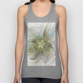 Floral Fantasy, Abstract Fractal Art Unisex Tank Top