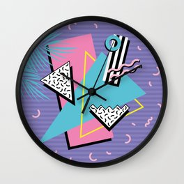 Memphis Pattern 57 - 80s - 90s Retro / 2nd year anniversary design Wall Clock