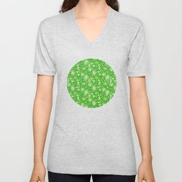 bells and birds and ornaments in green Unisex V-Neck