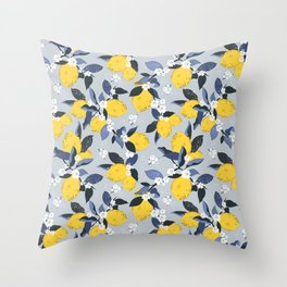 Blue lemon fantasy Throw Pillow