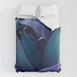 Turquoise Purple Abstract Leaves Comforters