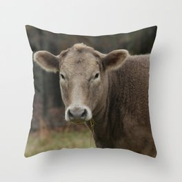Snacking Cow Throw Pillow
