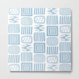 Retro Mid Century Modern Check Pattern 359 Blue Metal Print