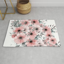 Abstract Watercolor, Blush Pink and Gray, Watercolor Print Rug