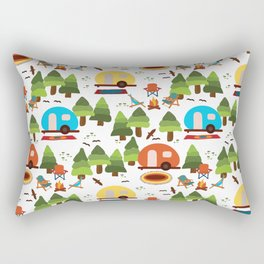 Campsite with caravans, campfire, camping chairs, trees, carpet, birds. Camping in the forest. Campground. RV. Camp night. Big scale. Rectangular Pillow