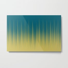 Dark Yellow and Tropical Dark Teal Inspired by Sherwin Williams 2020 Trending Color Oceanside SW6496 Minimal Frequency Line Art 2 Metal Print
