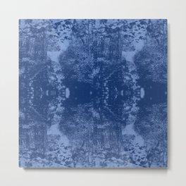 Faux Snakeskin Blue Metal Print