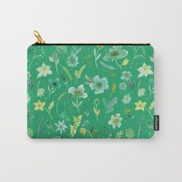 Verdant Flowers on Emerald Background Carry-All Pouch