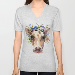 Cow Head, Floral Farm Animal Artwork farm house design, cattle Unisex V-Neck