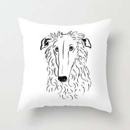 Borzoi (Black and White) Throw Pillow