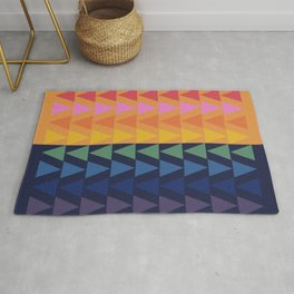 Day and Night Rainbow Triangles Rug