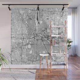 Minneapolis White Map Wall Mural