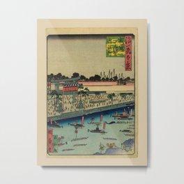 Isshusai Kunikazu - 100 Views of Naniwa: Aoi Tenmangu Shrine (1880s) Metal Print