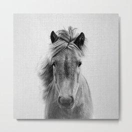 Wild Horse - Black & White Metal Print