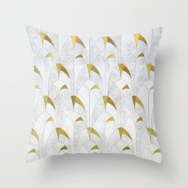Gold Marble Deco Arch Throw Pillow