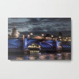 St Paul's Cathedral & Southwark Bridge At Night Metal Print