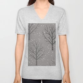 Winter trees with snowflakes - Christmas design Unisex V-Neck