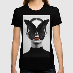 BLACK BUTTERFLY Black LARGE Womens Fitted Tee