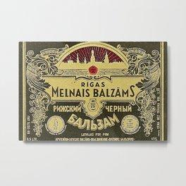 Vintage 1950 Rigas Melnais Balzams Wine Bottle Red Label Metal Print