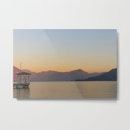 sunset over the quiet waters of Lake Iseo Metal Print
