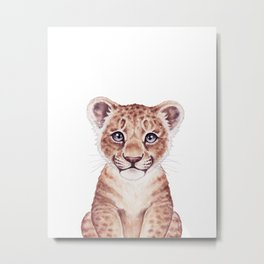 Lion Cub Watercolor, Baby Animals by lanakat Metal Print