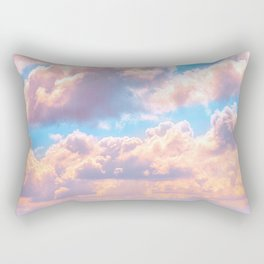 Beautiful Pink Cotton Candy Clouds Against Baby Blue Sky Fairytale Magical Sky Rectangular Pillow