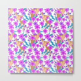 Cute little baby deer fawns lost in the forest of delicate pink flowers pattern. Metal Print