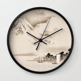 View Of Mount Fuji Traditional Japanese Landscape Wall Clock