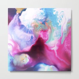 Rainbow Down Abstract Watercolor Painting Metal Print