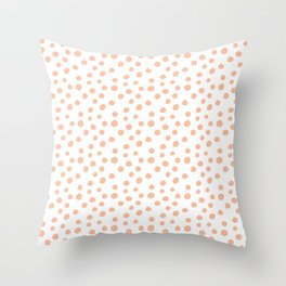 White & Peachy Polka Dots Throw Pillow