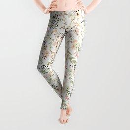Dainty Intricate Pastel Floral Pattern Leggings