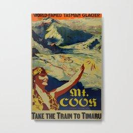 Mount Cook Vintage Travel Poster Metal Print
